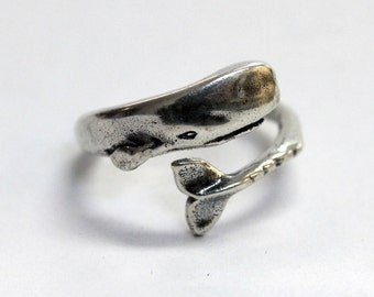 Silver Moby Dick Whale Ring in Solid White Bronze with Sterling Overlay Sperm Whale Ring 327