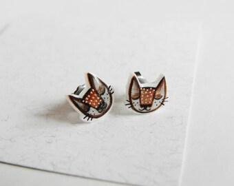 Cat earrings stud, handmade jewel