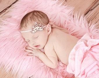 Pink Tiara Headband, Ready To Ship, Pink Crystal Princess Crown for Newborn Baby, Infant Girls, Toddler Girls Tiara, Children Photo Prop