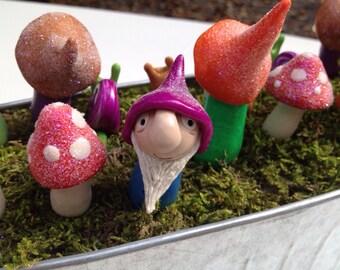 Polymer Clay Garden Gnome & Mushroom Plant Stake Set
