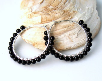 Basic Black Stone Hoop Earrings, Black Earrings in Polished Onyx, Gold or Silver Handmade Hoops with Natural Stone Beads, Fashion Classic