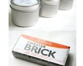 Wool Care Kit: 2 ounces of solid organic lanolin and a Sweater Brick for removing pills, lint and knots