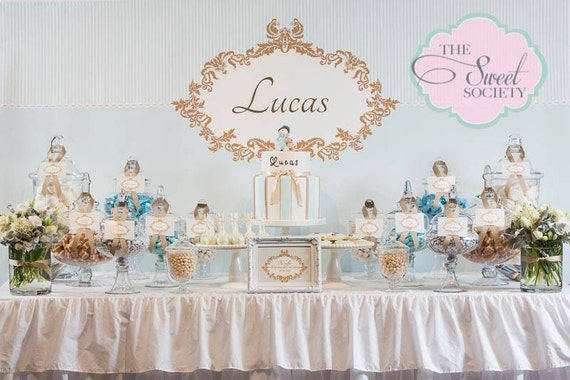 Ornate Boy Baptism Printable Party 72x39 Backdrop Blue And
