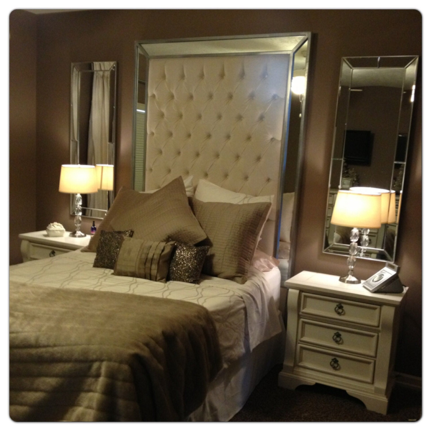 Headboard with mirrors extra tall headboard queen size for Tete de lit miroir