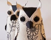 Soft Sculpture Fiber Art Woodland Owl Textile Art Bird Black and White Upholstery Fabric Luxury Gift Wildlife Fiber Art