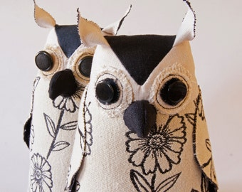 Soft Sculpture Fiber Art Woodland Owl Textile Art Bird Black and White Upholstery Fabric Luxury Gift Wildlife Fiber Art