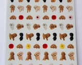 Cute Real Puppies / Dogs & Flowers Photo Stickers From Japan