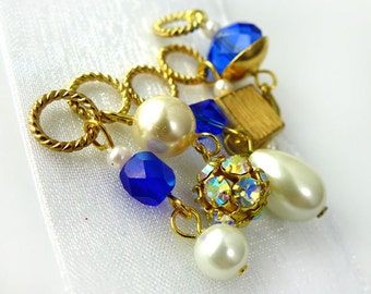 Jane's Sapphires - The Queen's Jewels Collection - Five Handmade Stitch Markers - 8.0 mm (US 11) - Limited Edition