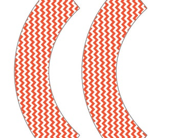 Tangerine Chevron Cupcake Wrapper