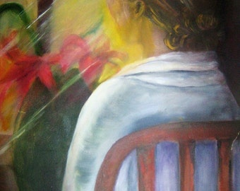 Original Oil Painting Seated Lady Window Flowers Signed  Collected Texas Artist GJK Figurative Art Decor