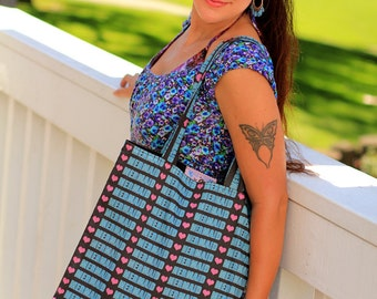 Mermaid Love Print Tote Bag - Cotton Beach Bag