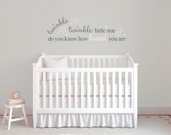 Twinkle twinkle little star wall decals, Vinyl wall quote stickers, Nursery wall decals, Baby wall decals, Vinyl wall decals, Word art DB323