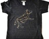 Black Lupus Wolf Gold Star Shirt, soft tri-blend, gold foil metallic screenprint, werewolf animal stars constellation space astronomy design
