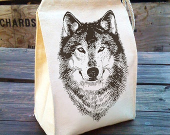 Wolf Lunch bag, Cotton lunch bags, Eco Friendly Lunch Sack, WOLF bag woodland design, Recycled Cotton Canvas Lunch Bag reusable washable