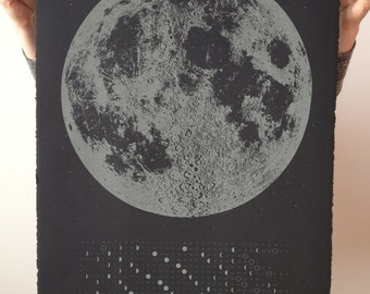 2016 Glow in the Dark Moon Lunar Phases Calendar, 22x30 large screenprint, matte grey print black, luna stellar wall art space stars science