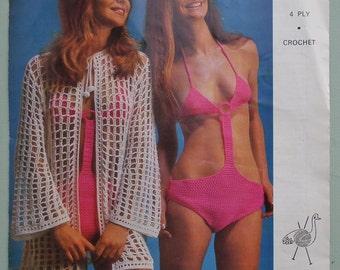 Vintage Crochet Pattern 1960s 1970s Bikini Style Swim Suit and Jacket 60s 70s UK original pattern women's swimwear beachwear Emu No. 2830 UK
