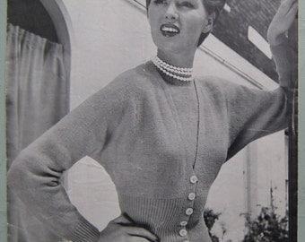 Vintage 1950s Knitting Pattern Women's Twin Set Sweater Jumper Cardigan Raglan Sleeves 50s original pattern Jaeger No. 3228 UK classic style