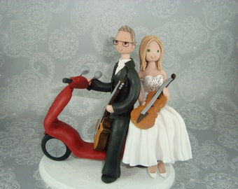 Bride & Groom on Vespa with a Guitars Customized Wedding Cake Topper