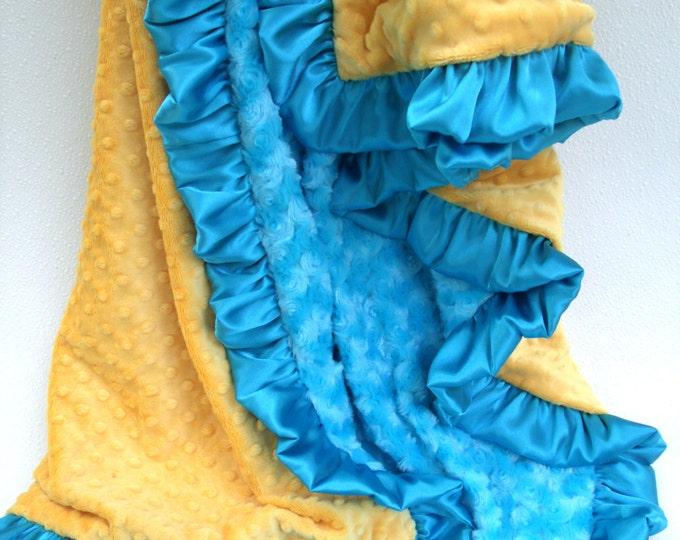 Aqua Turquoise and Bright Saffron Yellow Minky Baby Blanket