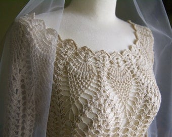 Handmade Crocheted Wedding Long Dress and Veil with Crochet Patterned Trim