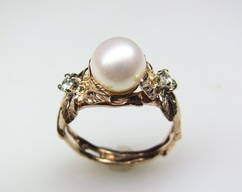 Pearl, Moissanite and Rose Gold Ring