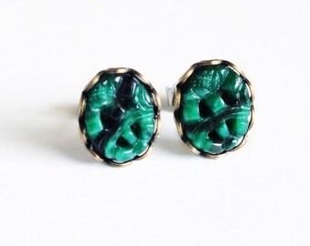 Dark Green Post Earrings Carved Glass Jade Studs Emerald Green Earrings Hypoallergenic Studs Carved Jade Green Cabochon Studs
