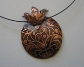 Etched Copper Pomegranate Pendant on Neck Ring