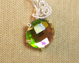 Rainbow Rhinestone Sterling Silver Plate Wire Wrap Necklace Pendant SALE