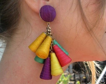 Colorful Dangle Earrings - Spools of Thread