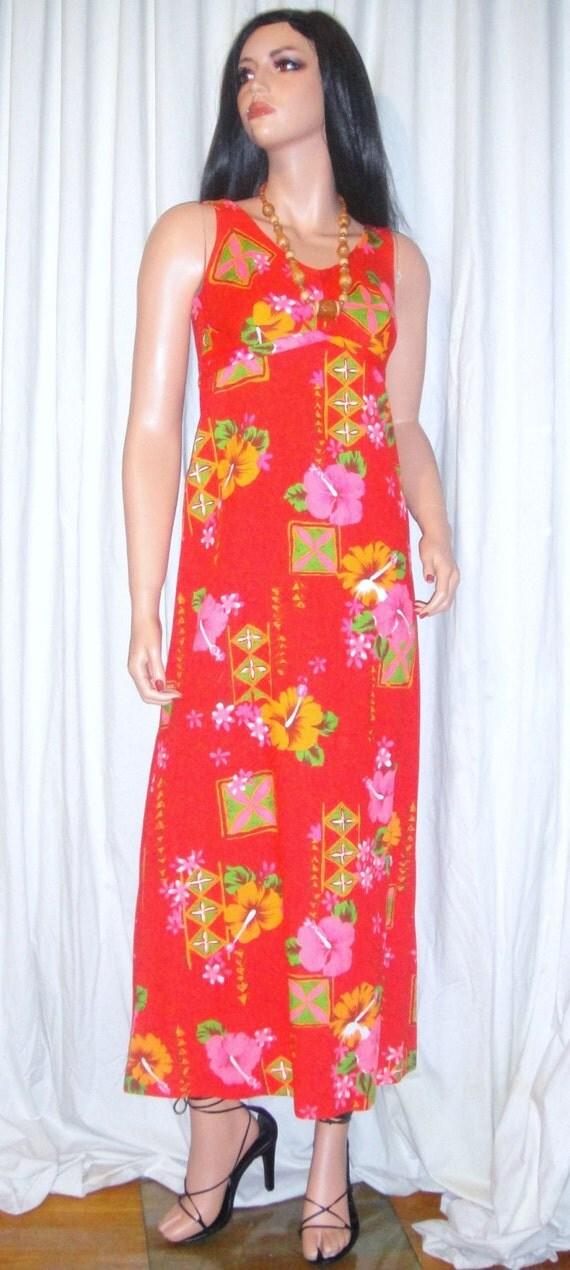 Vintage Richard Douglas Honolulu Hawaiian Red Pink Day Glo Floral Maxi Dress XXS