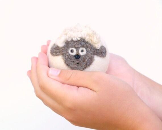 Lamb Sheep Toy, wool felt waldorf white cute adorable animal children child kid pretend play soft plush boy girl birthday farm country