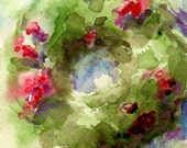 5 x 7 Red and Green Barnwood Christmas Wreath Print from Watercolor Painting