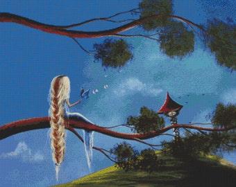 Rapunzel Cross Stitch Kit -  An Enchanted Butterfly  By Shawna Erback - Fairy Tale Modern Art CrossStitch - GeckoRouge