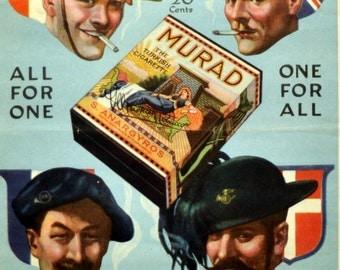 1918 Beautiful Antique Murad Turkish Cigarette Advertisement. All for one, One for All. WW1 Memorabilia