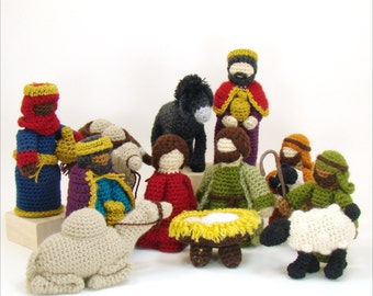 Christmas Crochet Nativity Pattern - Mary Joseph Jesus Shepherds Sheep 3 Kings Camels Donkey - PDF - Creche Pattern - Heirloom Crochet Patte