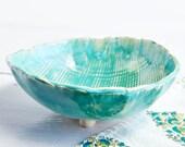 Ceramic baking and serving bowl linen textured sculptural vessel Turquoise glaze