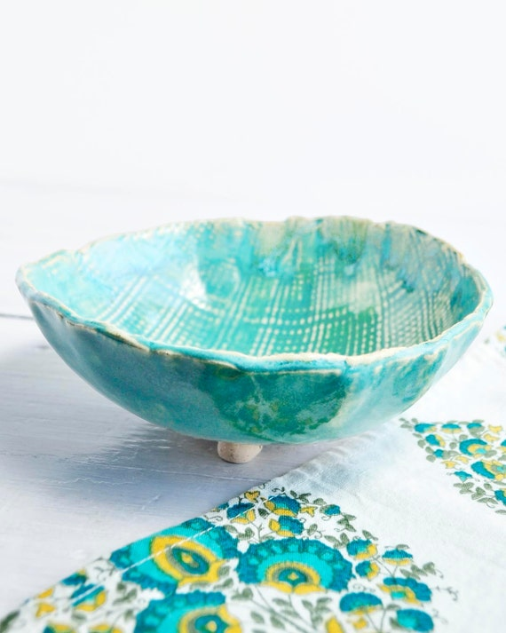 Ceramic baking and serving bowl linen textured sculptural vessel Turquoise glaze