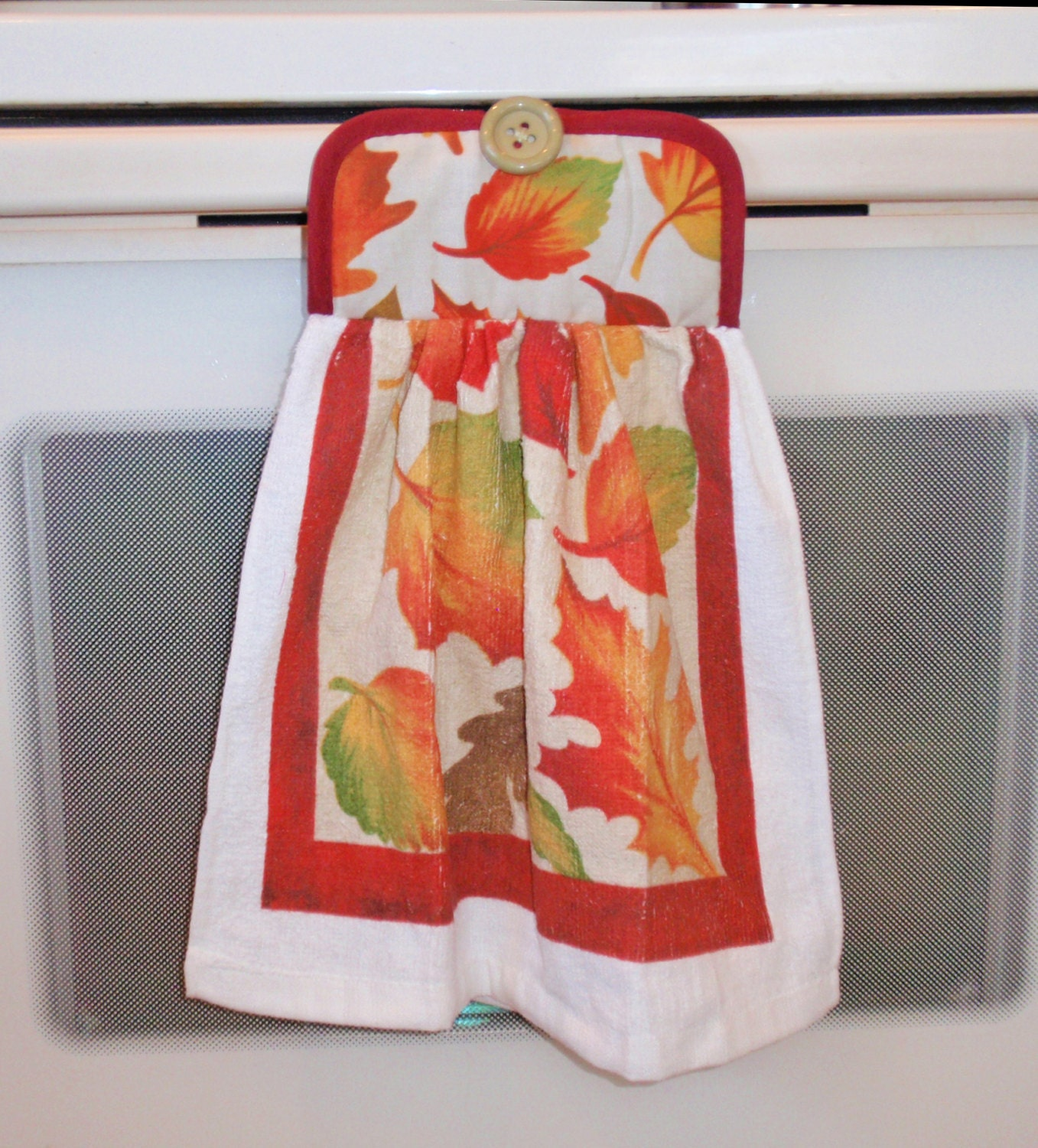 Dish Towel Sale: SUMMER SALE Hanging Kitchen Dish Towel In AUTUMN Leaves