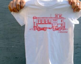 Kid's Train Tshirt - Caboose Tee Shirt for Boys and Girls 2T, 4T and 6 Kids - Kids Train Tshirt // Gift for Kids - White Tshirt with Red