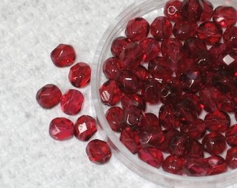 25 Czech Fire Polished Beads FP 6mm Fuchsia CLEARANCE