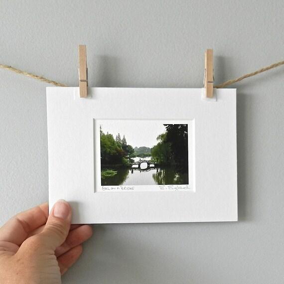 Miniature Art Zen Home Decor Asian Art Waterscape Bridge