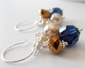 Bridesmaid Jewelry Navy Blue and Brown Crystal Cluster Earrings with Pearl Wedding Jewelry Sets Navy Bridesmaid Earrings Beaded Jewelry