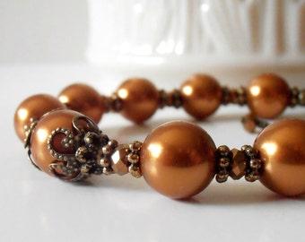 Copper Color Pearl Bracelet Swarovski Pearl Beaded Jewelry Bridesmaid Gift Idea Wedding Sets Cinnamon Spice Rustic Bronze Vintage Style