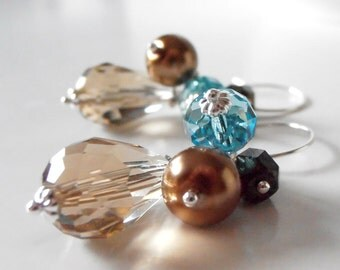 Brown and Aqua Bead Cluster Earrings, Bridesmaid Earrings, Bridal Party Gift Sets, Crystal Cluster Dangles, Beaded Bridesmaid Gift Jewelry