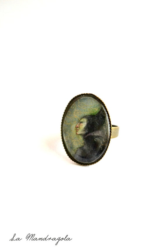 Maleficent ring, the villain witch from Sleeping Beauty.Original artwork. Adjustable Cameo ring
