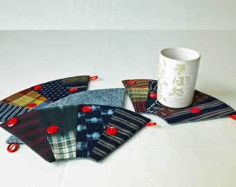 30% off  3-Way Reversible Patchwork Quilted Fabric Coaster Set of 4