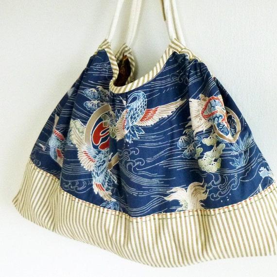 Japanese Cotton Fabric : Large Reversible Granny Bag