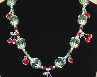 Cherry Drop Charm Necklace - Silver, Green & Red Bead