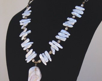 White Stick Pearl, Mother of Pearl and Agate Necklace
