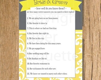 INSTANT UPLOAD Bridal Shower Game How Well Do You Know The Bride Groom
